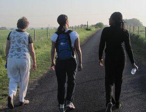 Three women on the road